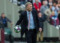 Football - 2016 / 2017 Premier League - West Ham United vs. Sunderland<br /> <br /> Sunderland Manager David Moyes returns the ball at The London Stadium.<br /> <br /> COLORSPORT/DANIEL BEARHAM