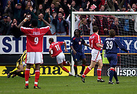 Fotball<br /> Photo. Glyn Thomas, Digitalsport<br /> Norway Only<br /> <br /> Charlton Athletic v Portsmouth. FA Barclaycard Premiership. <br /> The Valley, Charlton, London. 10/04/2004.<br /> Charlton's Paolo di Canio (11) thinks he has scored his side's winner but the goal is disallowed.