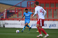 Cheltenham Town Midfielder Conor Thomas (7) plays a pass during the EFL Sky Bet League 2 match between Stevenage and Cheltenham Town at the Lamex Stadium, Stevenage, England on 20 April 2021.