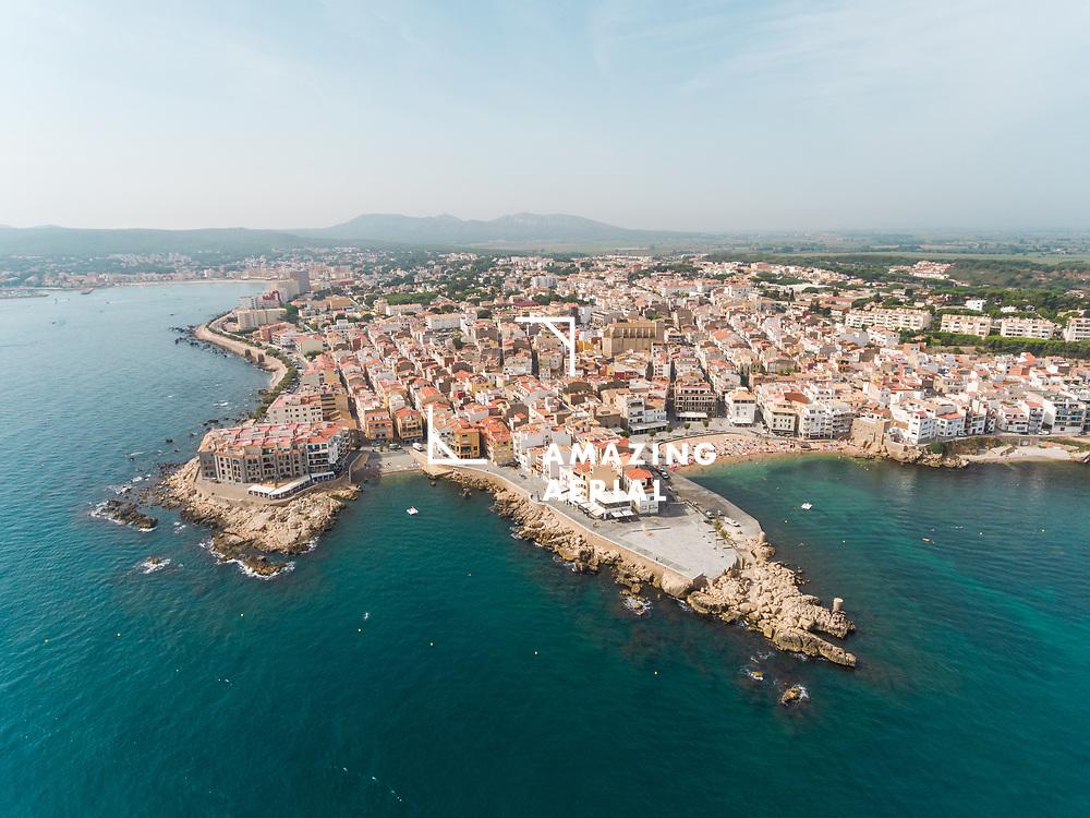 Aerial view of L'Escala cityscape at Catalunya region, Spain