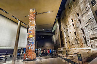 Last Column from Ground Zero and Slurry Wall segment, National September 11 Memorial & Museum, New York, New York USA.