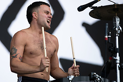 Isaac Holman of Slaves performs on The Other Stage, at Glastonbury Festival at Worthy Farm in Somerset.