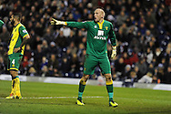 Norwich city goalkeeper John Ruddy in action. Barclays Premier league, West Bromwich Albion v Norwich city at the Hawthorns in West Bromwich, England on Sat 7th Dec 2013. pic by Andrew Orchard, Andrew Orchard sports photography.