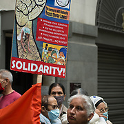 Indian Workers' Association GB protest against Modi regime three black laws passed against minority farmer in front of the Indian High Commission in London on 25th September 2021.