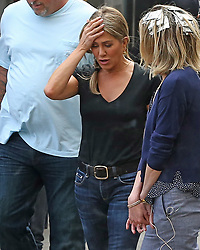 """EXCLUSIVE: Actress Jennifer Aniston spotted filming """"Murder Mystery"""" in downtown Los Angeles with her co star Adam Sandler. 19 Mar 2019 Pictured: Jennifer Aniston. Photo credit: P&P / MEGA TheMegaAgency.com +1 888 505 6342"""