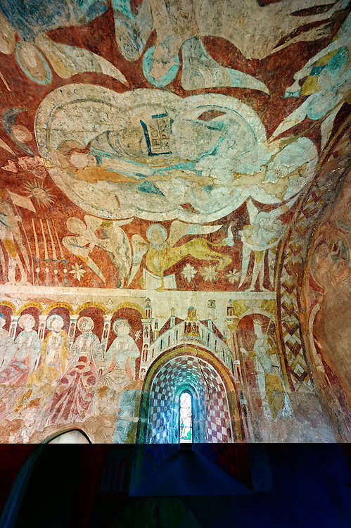 Romanesque fresco  in the altar vault of the Norman Church of St Mary's Kempley Gloucestershire, England, Europe .<br /> <br /> Visit our MEDIEVAL PHOTO COLLECTIONS for more   photos  to download or buy as prints https://funkystock.photoshelter.com/gallery-collection/Medieval-Middle-Ages-Historic-Places-Arcaeological-Sites-Pictures-Images-of/C0000B5ZA54_WD0s