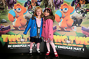 NO FEE PICTURES <br /> 19/4/15 Emma Walsh, age 5 and Isabella Rooney, 5, Finglas at the Irish Premiere of Two by Two at the Savoy cinema in Dublin. Picture:Arthur Carron
