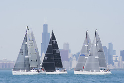 June 9, 2017 - Chicago, IL, USA - The first of three days of the National Offshore One Design sailboat racing in Chicago  took place on Friday, June 9, 2017.  There were three racing circles of boats, each with different fleets.  The wind shifted dramatically during the day, from the Southwest to the Northeast.   In one design racing, the first one across the line is the winner of that race, since there is no handicapping. Sailing World is the sponsor of the regatta. The Chicago Yacht Club is the host. (Credit Image: © Karen I.Hirsch via ZUMA Wire)