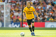 Newport County defender Mickey Demetriou (28) during the EFL Sky Bet League 2 Play Off Final match between Newport County and Tranmere Rovers at Wembley Stadium, London, England on 25 May 2019.