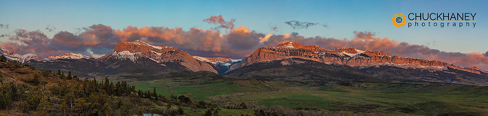 Panoramic of the Rocky Mountain Front at sunrise near Dupuyer, Montana, USA