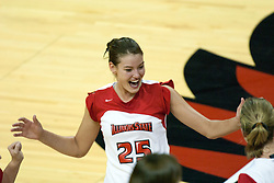 19 AUG 2006  Peggy Riessen reacts to a Redbird point. Northern Illinois Huskies got slammed by Illinois State Redbirds, losing the match 3 games to 1. Game action took place at Redbird Arena on the campus of Illinois State University in Normal Illinois.