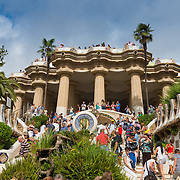 Guell park Main Square, Barcelona, Spain
