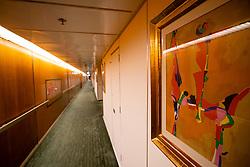 Corridor inside Queen Elizabeth 2 former ocean liner now reopened as hotel in Dubai , United Arab Emirates