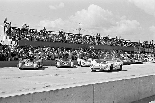 Le Mans-style start at the 1969 Sebring 12-hour race, Florida, USA. Photo by Pete Lyons.