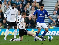 Photo: Steve Bond.<br />Derby County v Everton. The FA Barclays Premiership. 28/10/2007. Stepehn Pearson (C) slides in on Tim Cahill (R)