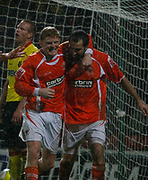 Photo: Richard Lane/Richard Lane Photography. Watford v Blackpool. Coca Cola Championship. 01/11/2008. Garry Taylor-Fletcher (R) and Claus Bech Jorgensen (L) celebrate the 3rd equaliser