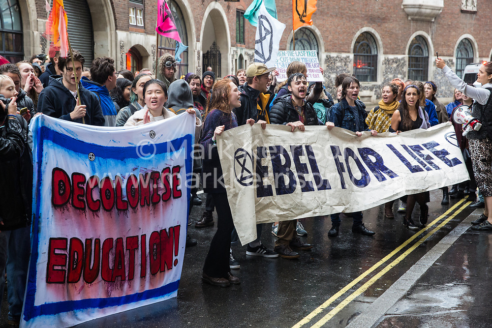 London, UK. 8 October, 2019. Climate activists from Extinction Rebellion Youth protest outside the Department for Education on the second day of International Rebellion protests to demand that schools teach the truth about the climate emergency.