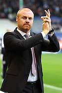 Burnley Manager Sean Dyche looks on prior to kick off. Skybet football league Championship match, Burnley v Huddersfield Town at Turf Moor in Burnley ,Lancs on Saturday 31st October 2015.<br /> pic by Chris Stading, Andrew Orchard sports photography.