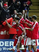Fotball<br /> Premier League 2004/05<br /> Charlton v Everton<br /> 28. desember 2004<br /> Foto: Digitalsport<br /> NORWAY ONLY<br /> Charlton's Talal El Karkouri celebrates his goal against Everton
