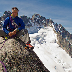 Alex's shot of me on the West Ridge of Pigeon Spire, Bugaboo Provincial Park, British Columbia, Canada