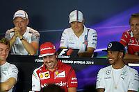 (L to R): Fernando Alonso (ESP) Ferrari and Lewis Hamilton (GBR) Mercedes AMG F1 in the FIA Press Conference.<br /> Italian Grand Prix, Thursday 4th September 2014. Monza Italy.