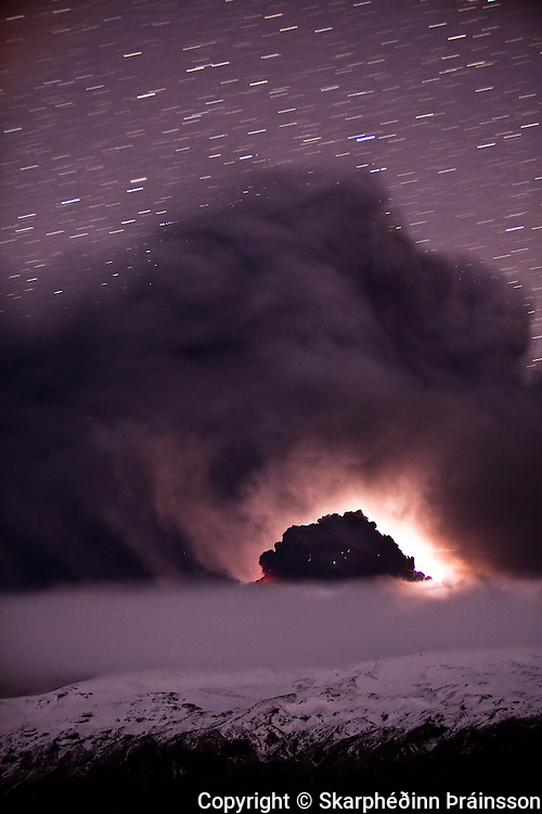 A long exposure of the erupting volcano in Eyjafjallajökull, south Iceland April 2010