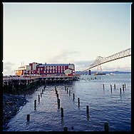The view of the Cannery Pier Hotel which includes stunning views of the Columbia River and the Astoria Bridge