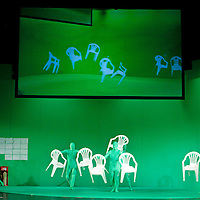 Picture shows : Stagehands dressed in green are hidden due to the 'green screen'..Picture  ©  Drew Farrell Tel : 07721 -735041..A new Scottish Opera production of  Rossini?s 'The Italian Girl in Algiers' opens at The Theatre Royal Glasgow on Wednesday 21st October 2009..(Soap) opera as you've never seen it before.Tonight on Algiers?..Colin McColl?s cheeky take on Rossini?s comic opera is a riot of bunny girls, beach balls, and small screen heroes with big screen egos. Set in a TV studio during the filming of popular Latino soap, Algiers, the show pits Rossini?s typically playful and lyrical music against the shoreline shenanigans of cast and crew. You?d think the scandal would be confined to the outrageous storylines, but there?s as much action off set as there is on?. .Italian bass Tiziano Bracci makes his UK debut in the role of Mustafa. Scottish mezzo-soprano Karen Cargill, who the Guardian called a ?bright star? for her performance as Rosina in Scottish Opera?s 2007 production of The Barber of Seville, sings Isabella. .Cast .Mustafa...Tiziano Bracci.Isabella..Karen Cargill.Lindoro...Thomas Walker.Elvira...Mary O?Sullivan.Zulma...Julia Riley.Haly...Paul Carey Jones.Taddeo...Adrian Powter. .Conductors.Wyn Davies.Derek Clarke (Nov 14). .Director by Colin McColl.Set and Lighting Designer by Tony Rabbit.Costume Designer by Nic Smillie..New co-production with New Zealand Opera.Production supported by.The Scottish Opera Syndicate.Sung in Italian with English supertitles..Performances.Theatre Royal, Glasgow - October 21, 25,29,31..Eden Court, Inverness - November 7. .His Majesty?s Theatre, Aberdeen  - November 14..Festival Theatre,Edinburgh - November 21, 25, 27 ...Note to Editors:  This image is free to be used editorially in the promotion of Scottish Opera. Without prejudice ALL other licences without prior consent will be deemed a breach of copyright under the 1988. Copyright Design and Patents Act  and will be subject to payment or legal action, where appropriate..F