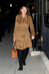 © London News Pictures. 05/12/2012. London, UK. Carole Middleton, Mother of Kate Middleton arriving at King Edward VII Hospital  in London to visiting The Duchess Of Cambridge, who is currently being treated for a type of severe morning sickness called hyperemesis gravidarum. The royal couple announced the pregnancy on Monday. Photo credit: Ben Cawthra/LNP