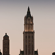The Woolworth Building in the setting sun.