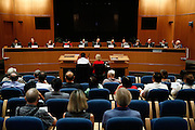 The panel of City Council candidates prepares themselves for questions during the Milpitas City Council Forum at Milpitas City Hall in Milpitas, California, on October 9, 2014. (Stan Olszewski/SOSKIphoto)