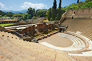 The Roman Great Theatre of Pompeii. Seating up to 5000 spectators the theatre was originally built in Hellanistic time (200-150 B.C) .<br /> <br /> If you prefer to buy from our ALAMY PHOTO LIBRARY  Collection visit : https://www.alamy.com/portfolio/paul-williams-funkystock/pompeii.html<br /> Visit our CLASSICAL WORLD HISTORIC SITES PHOTO COLLECTIONS for more photos to buy as buy as wall art prints https://funkystock.photoshelter.com/gallery-collection/Classical-Era-Historic-Sites-Archaeological-Sites-Pictures-Images/C0000g4bSGiDL9rw