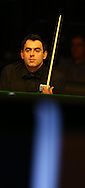 Ronnie O'Sullivan looks on during his semi final match against Joe Perry. Betvictor Welsh Open snooker 2016, day 6 Semi finals day at the Motorpoint Arena in Cardiff, South Wales on Saturday 20th Feb 2016.  <br /> pic by Andrew Orchard, Andrew Orchard sports photography.