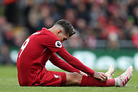 Football - 2018 / 2019 Premier League - Liverpool vs. Chelsea<br /> <br /> Roberto Firmino of Liverpool sits on the pitch, at Anfield.<br /> <br /> COLORSPORT/PAUL GREENWOOD