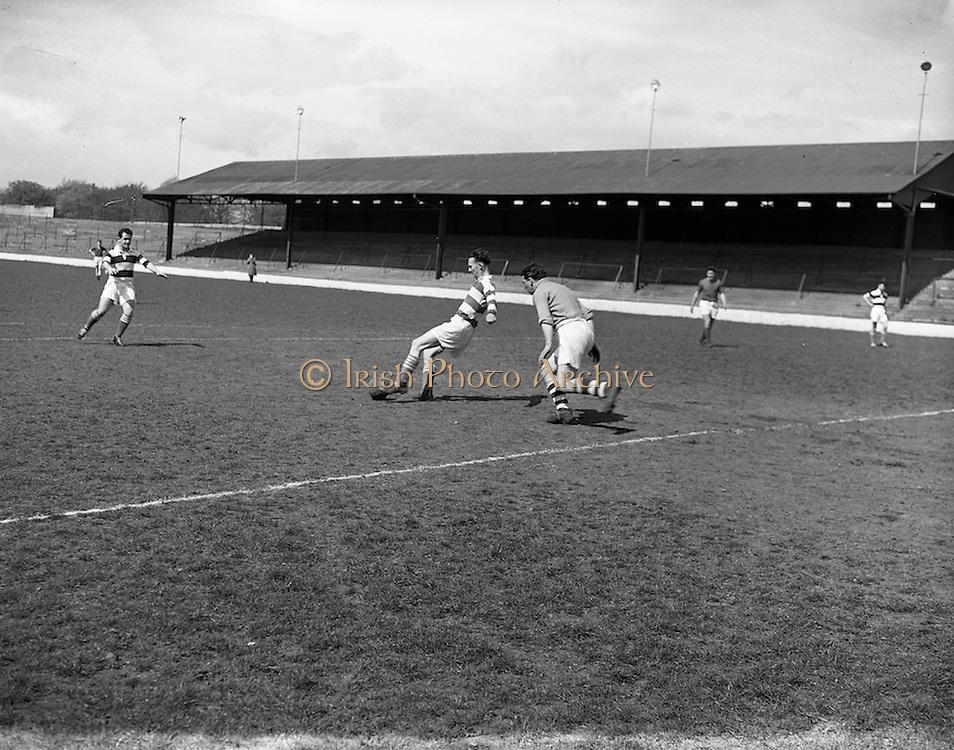 26/04/1958<br /> 04/26/1958<br /> 26 April 1958<br /> Soccer: Irish Shell v Shell Mex and B.P. (Northern Ireland) at Glenmalure Park, Milltown, Dublin.