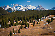 East Trinity Peak, Trinity Peak, West Trinity Peak, Vestal Peak, Arrow Peak, Electric Peak, Graystone Peak, Mount Garfield, The Vestal Group and Needle Mountains Grenadier Mountain Range, San Juan Mountains, Rocky Mountains, Colorado viewed from Molas Pass on US RT550 along the Million Dollar Highway.