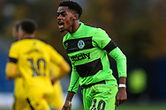 Forest Green Rovers Reece Brown(10) appeals a decision during the The FA Cup 1st round match between Oxford United and Forest Green Rovers at the Kassam Stadium, Oxford, England on 10 November 2018.
