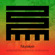 """Nkyinkyin represents the ability to resist and adapt to the changes of life.<br />  The literal translation* of the word Nkyinkyin in Akan is """"twistings"""", but the symbolic meaning of Nkyinkyin can not be limited to a single word. Adinkra symbols are West African designs that have represented elements of Ghanaian values and culture for hundreds of years. <br /> <br /> *Literal translation from the book: """"The Adinkra Dictionary - A Visual Primer on the Language of Adinkra"""" and my parents. Akan (or Twi) is a language spoken in both Ghana and Côte d'Ivoire."""