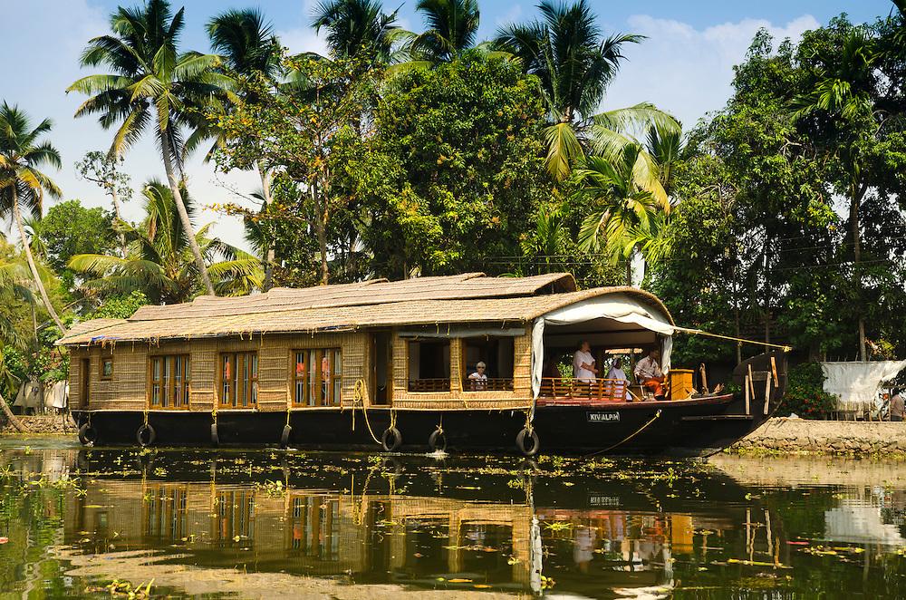 A traditional Kettuvallam on Kerala Backwaters, South India