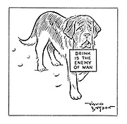 """(A St Bernard carries a sign reading """"Drink is the enemy of man"""" in place of a brandy barrel)"""