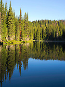 The morning sun causes steam to rise off of Horseshoe Lake, deep in the Clearwater National Forest, Idaho, United States.