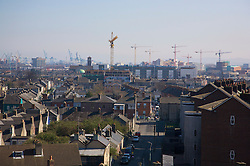 DUBLIN, REPUBLIC OF IRELAND - Saturday, March 24, 2007: Construction cranes tower over the Dublin skyline viewed from Croke Park. (Pic by David Rawcliffe/Propaganda)