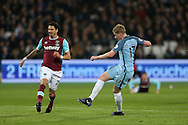 Kevin De Bruyne of Manchester City shoots and scores his sides 1st goal. Premier league match, West Ham Utd v Manchester city at the London Stadium, Queen Elizabeth Olympic Park in London on Wednesday 1st February 2017.<br /> pic by John Patrick Fletcher, Andrew Orchard sports photography.