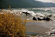Brennan Lagasse prepares to surf Tahoe's North Shore