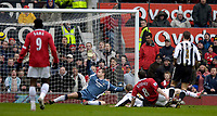 Photo: Jed Wee.<br /> Manchester United v Newcastle United. The Barclays Premiership. 12/03/2006.<br /> <br /> Manchester United's Wayne Rooney fires home his second goal.
