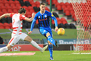 Harrison McGahey clears under pressure during the EFL Sky Bet League 1 match between Doncaster Rovers and Rochdale at the Keepmoat Stadium, Doncaster, England on 1 January 2019.
