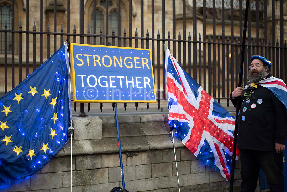 The day before Brexit Day, pro remain supporters from campaign group Sodem, gather for a party to celebrate being part of the European Union, outside the Houses of Parliament in Parliament Square, Westminster, on 30th January 2020, in London, England, United Kingdom. The United Kingdom will leave the European Union formally at 23:00 GMT on 31st January, 2020.