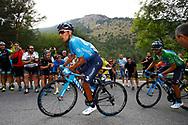 Nairo Quintana (COL - Movistar) - Alejandro Valverde (ESP - Movistar) during the 73th Edition of the 2018 Tour of Spain, Vuelta Espana 2018, 20th stage Andorra Escaldes Engordany - Coll de la Gallina 97.3 km on September 15, 2018 in Spain - Photo Luca Bettini / BettiniPhoto / ProSportsImages / DPPI