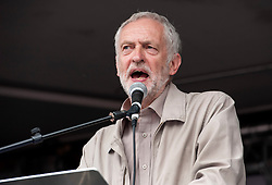© Licensed to London News Pictures. 20/06/2015. London, UK.  JEREMY CORBYN MP speaks as The March against Austerity reaches Parliament Square, organised by the People's Assembly, against Government cuts to public spending and public services.  Photo credit : Simon Chapman/LNP