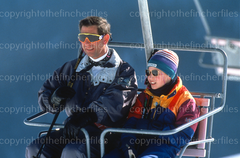 Prince William with his father Prince Charles,The Prince of Wales,on a ski holiday in Klosters,Switzerland in 1994. Photographed by Jayne Fincher
